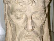 English: Christian Petersen's Head of Christ in Saint Thomas Aquinas Catholic Church, Ames, Iowa