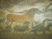 English: Reproductions of some Lascaux artworks in Lascaux II. Magyar: Lascaux II művészeti reprodukció. Polski: Perspektywa kulisowa. Português: Pintura em Lascaux II.