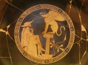 Oedipus and the Sphinx of Thebes, Red Figure Kylix, c. 470 BC, from Vulci, attributed to the Oedipus Painter, Vatican Museums