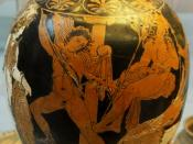 Oedipus slaying the sphinx. Attic red-figured lekythos in the manner of the Meidias Painter, 420-400 BC. British Mus