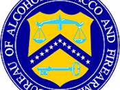 Seal of the old Bureau of Alcohol, Tobacco, and Firearms, which was part of the Treasury Department. The Bureau was split up, and the new Bureau of Alcohol, Tobacco, Firearms and Explosives is part of the Department of Justice. The seal is essentially the