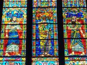 English: Photograph taken at the Washington National Cathedral of the Moses window by Lawrence Saint This window depicts the three stages of the life of Moses, each of them being 40 years long. The first 40 years is depicted in the left panel, when Moses