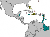 Map of the CARICOM countries that have a single market (CSM) CARICOM members part of CSM CARICOM members not part of CSM CARICOM associate members