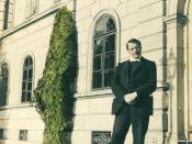 English: Carl Gustav Jung, full-length portrait, standing in front of building in Burghölzi, Zurich