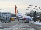 English: View of the front of Southwest Airlines Flight 1248. This aircraft, N471WN, crashed into the perimeter fence of Chicago Midway International Airport on December 8, 2005. Photo taken and used with permission by: Gabriel Widyna This photo can be fo