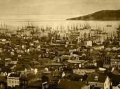English: San Francisco harbor (Yerba Buena Cove), 1850 or 1851, with Yerba Buena Island in the background. Daguerrotype. Română: Portul San Francisco (Golful Yerba Buena), la 1850 sau 1851; în fundal se vede Insula Yerba Buena. Dagherotip. Português do Br