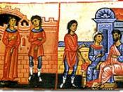 Scenes of urban life in Byzantium. Left illumination is a scene of marriage. The right illumination depicts a conversation among family members.