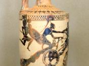 Achilles dragging the body of Hector. Attic white-ground lekythos, ca. 490 BC. From Etreria.