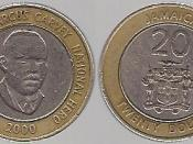 English: 20 Jamaican dollars from 2000.