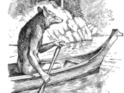 English: Anthropomorphic Coyote trickster, from North American Indigenous mythology, canoeing up the river.