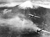 Bombarderos B-29 sobrevolando el Monte Fuji (Yamanashi, 1945)