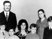 President Hafez al-Asad with his family in the early 1970s. From left to right: Bashar, Maher, Mrs Anisa Makhlouf (the then new First Lady of Syria), Majd, Bushra, and Basil.