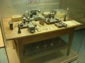 The Experimental Apparatus with which the team of Otto Hahn , Lise Meitner and Fritz Strassmann discovered Nuclear Fission in 1938. The arrangement was originally in 3 separate rooms: irradiation, measurement, and chemistry at the Kaiser Wilhelm Institute