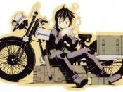 Kino sitting in front of Hermes, her talking motorcycle.