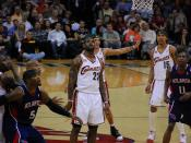 LeBron James watches as his free throw goes up. Also in the photo: Jawad Williams (far left), Josh Smith (5), Delonte West (behind James), Jamario Moon (15), Jamal Crawford (11).