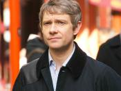 Chinatown, London. Martin Freeman during filming of Sherlock.