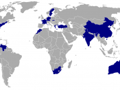 Map showing placements at the Manhunt International pageant. Key on graphic shows colour coding for break down of placements.