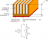 English: Heat sink with thermal resistances used to calculated thermal performance.