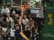 Pau Gasol dunking in Game 2 of the 2008 NBA Finals