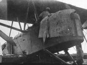 Crew checking fuselage; First England-Australia flight, Keith and Ross Smith, 1919 - Darwin, Northern Territory, Australia / photographer unknown