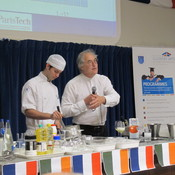English: Hervé This at Dublin Institute of Technology, Cathal Brugha Street, 2011 with student Ciarán Elliott demonstrating how to achieve a greater volume when whipping egg whites.