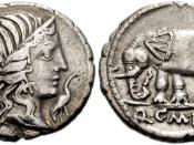 Q. Caecilius Metellus Pius. 81 BC. AR Denarius (17mm, 3.69 g). Diademed head of Pietas right; stork before / Elephant walking left, wearing bell around its neck. Crawford 374/1; Sydenham 750; Caecilia 43. VF.