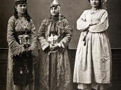 Three Damascene women; lady wearing qabqabs, a Druze, and a peasant, 1873