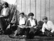 From left to right, Grand Duchesses Maria, Olga, Anastasia and Tatiana Nikolaevna in captivity at Tsarskoe Selo in the spring of 1917.