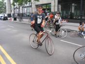 Bike Messenger relaxing at CMWC 2005 in New York City
