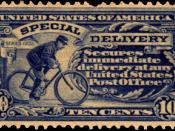 English: US postal stamp from 1902 for special delivery service, depicting a bicycle courier