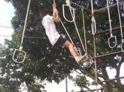 Bahasa Indonesia: Hanging Stepping Stones adalah salah satu challenging game yang ada dilokasi TOP untuk mengajarkan peserta training menyelaraskan keseimbangan gerakan badan, emosi dan pikiran dalam menyelesaikan sebuah tugas individual dengan orientasi
