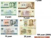 Collection of Chinese renminbi yuan banknotes. 1 ⁄ 10 yuan to 10 yuan notes are of the fourth series of the renminbi. 20 to 100 yuan (red) are of the fifth series of the renminbi. The polymer note on the lower right commemorates the third millennium.