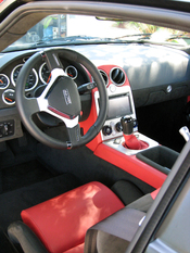 English: Interior shot of Rossion Q1 sports car (pre-production model).