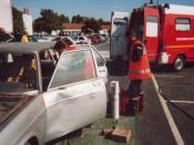 Public demonstration; the ambulance team take care of the casualty inside the stabilised vehicle — Sainte-Soulle, France, September 2001