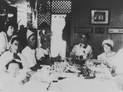 English: Christmas dinner at the Ledlie family home, Herberton, 1924. John Ledlie and family.