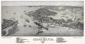 Bird's eye view of Cedar-Key, Fla., Levy Co. Beck & Pauli, litho.