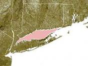 English: Long Island Sound is shown highlighted in pink between Connecticut and Long Island. Based on public domain satellite photo courtesy of NOAA. © 2004 Matthew Trump.