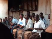 Drummers playing at a seremony, in western Ghana