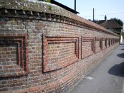 English: Brick wall of Hailsham cattle market, Hailsham, East Sussex, England.