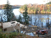 English: Construction at Meech Lake across from Willson House