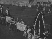 Français : les funérailles_du_souverain_de_Corée, Gojong, dans son cortège se trouve un arbre_offert par_l'empereur du Japon.