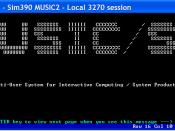 English: Screen shot of TN3270 session on IBM Mainframe MUSIC/SP Operating system. Suomi: Kuvakaappaus TN3270-istunnosta IBM:n suurtietokoneille suunnitellulla MUSIC/SP-käyttöjärjestelmällä.