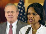 English: Baghdad, Iraq (April 27, 2006) - Secretary of State Condoleezza Rice and Secretary of Defense Donald H. Rumsfeld address the media after meeting at the U.S. Embassy in Baghdad, Iraq. Rumsfeld and Rice made an unannounced visit to Iraq to meet wit