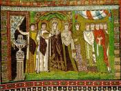 Theodora, Justinian's wife, and her retinue. 6th century mosaic from the Basilica of San Vitale in Ravenna.