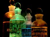 Chemicals in flasks (including Ammonium hydroxide and Nitric acid) lit in different colours
