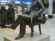 English: Bronze statue of Isambard Kingdom Brunel, by John Doubleday. It is situated in the main (side) entrance to Paddington Station in London, UK.