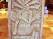 A stela from the Classic Veracruz site of Aparicio, showing a sacrificed ballplayer, 400-700 CE. Height: 125 cm (4 ft).