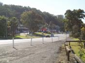 Some shops at Ourimbah, New South Wales, Australia. Looking north down the pacific highway.