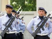 French Airforce Riflemen-commando, armed with FAMAS F1 assault rifles, participate in the Memorial Day ceremony at the LaFayette Escadrille Monument in Paris, France.