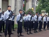 French Armed Forces, armed with FAMAS F1 assault rifles, await for the opening of the Memorial Day ceremony at the LaFayette Escadrille Monument in Paris, France.